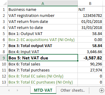 MTD VAT Return - Importing from Microsoft Excel